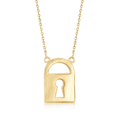 14kt Yellow Gold Stationed Lock Necklace