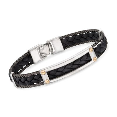 ALOR Men's Black Cable and Black Leather Braid Bracelet With 18kt Yellow Gold, , default
