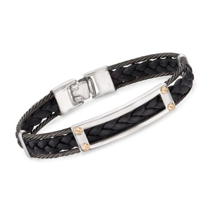 "ALOR Men's Black Cable and Black Leather Braid Bracelet With 18kt Yellow Gold. 7.75"", , default"