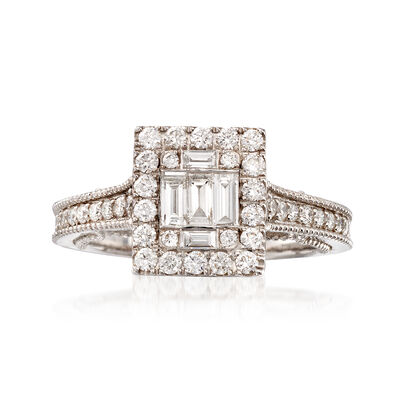.90 ct. t.w. Diamond Ring in 18kt White Gold, , default