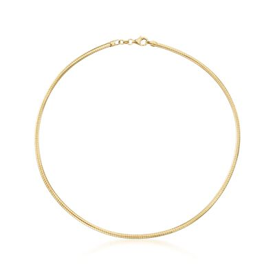 54d3d59239838e Italian 3mm 18kt Gold Over Sterling Silver Round Omega Necklace, , default