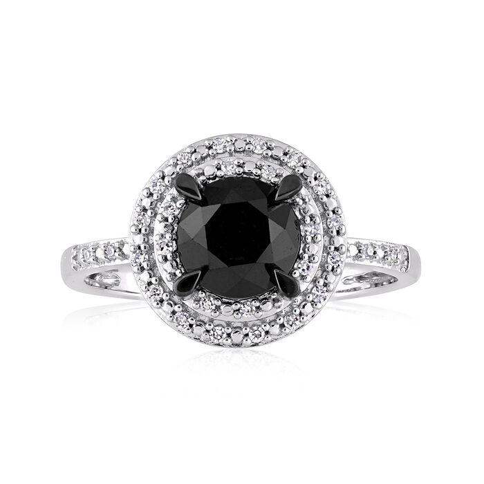 1.50 Carat Black Diamond Ring with White Diamond Accents in 14kt White Gold, , default
