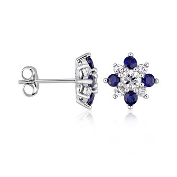 1.50 ct. t.w. White and Blue Sapphire Flower Earrings in 14kt White Gold , , default