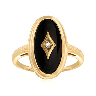 C. 1940 Vintage Black Onyx Ring with Diamond Accents in 14kt Yellow Gold