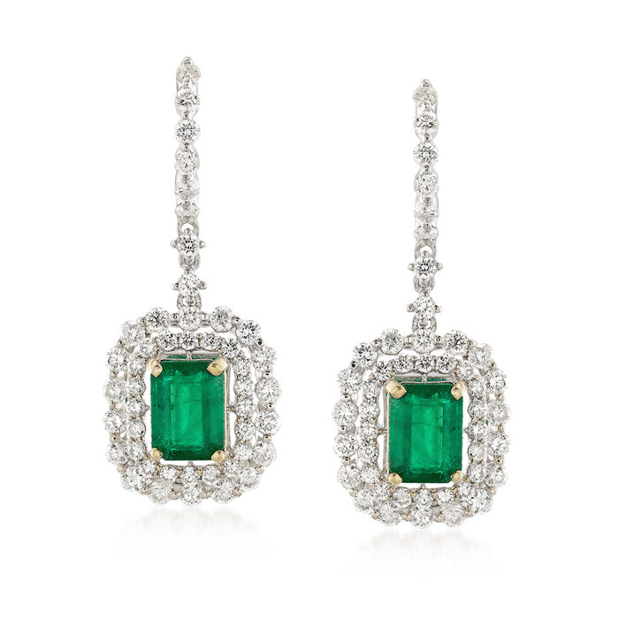 C. 1990 Vintage 2.00 ct. t.w. Emerald and 2.00 ct. t.w. Diamond Drop Earrings in 18kt White Gold, , default