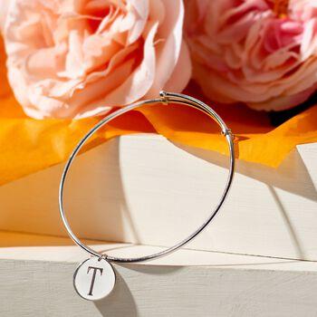 Sterling Silver Single Initial Disc Charm Bangle Bracelet