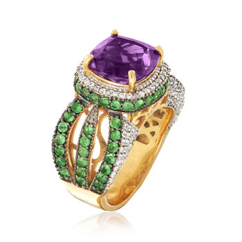 4.00 Carat Amethyst and 2.70 ct. t.w. Multi-Gem Ring in 18kt Gold Over Sterling