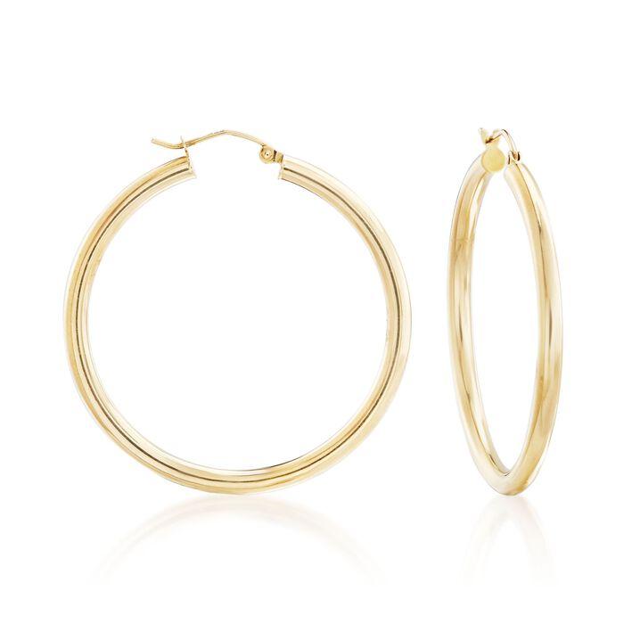 "3mm 14kt Yellow Gold Medium Hoop Earrings. 1 5/8"", , default"