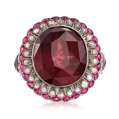 C. 1940 Vintage 17.19 ct. t.w. Pink Tourmaline and 1.07 ct. t.w. Diamond Ring with 1.00 ct. t.w. Rubies in Sterling Silver and 18kt Yellow Gold
