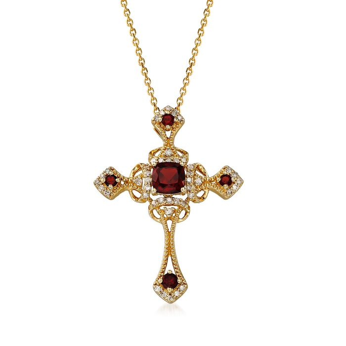 1.00 ct. t.w. Garnet and .19 ct. t.w. Diamond Cross Pendant Necklace in 14kt Yellow Gold