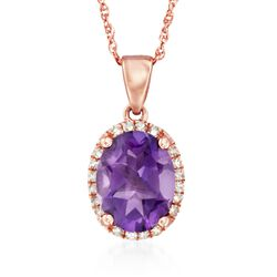 "1.65 Carat Amethyst Pendant Necklace With Diamond Accents in 14kt Rose Gold. 18"", , default"