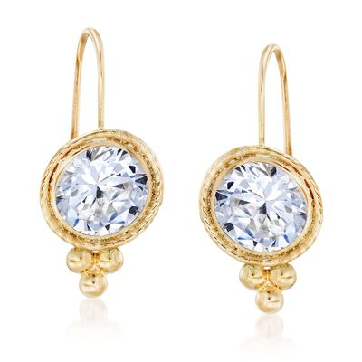 4.00 ct. t.w. CZ Drop Earrings in 14kt Yellow Gold, , default