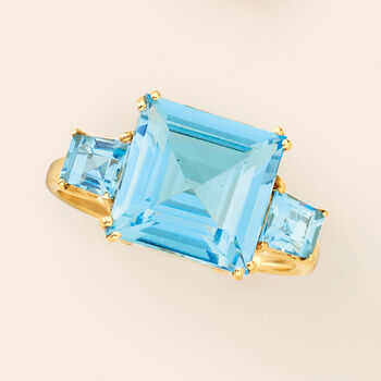 6.30 ct. t.w. Blue Topaz Ring in 14kt Yellow Gold