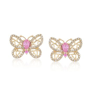 .43 ct. t.w. Pink Sapphire and .28 ct. t.w. Diamond Butterfly Earrings in 14kt Yellow Gold, , default
