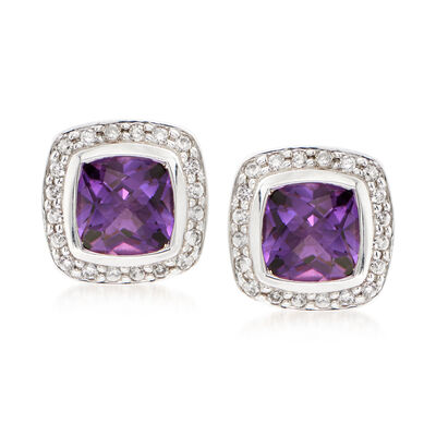 C. 1990 Vintage David Yurman 1.70 ct. t.w. Amethyst and .50 ct. t.w. Diamond Earrings in Sterling Silver and 14kt Gold