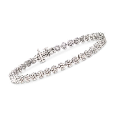 3.00 ct. t.w. Diamond Flower Bracelet in Sterling Silver, , default