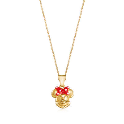 Child's Disney 14kt Yellow Gold Minnie Mouse Pendant Necklace with Enamel, , default