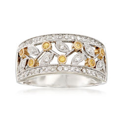 C. 1990 Vintage .45 ct. t.w. Diamond and .25 ct. t.w. Yellow Sapphire Ring in 14kt White Gold, , default