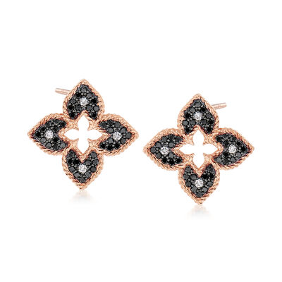 "Roberto Coin ""Venetian Princess"" .71 ct. t.w. Black and White Diamond Flower Earrings in 18kt Rose Gold"