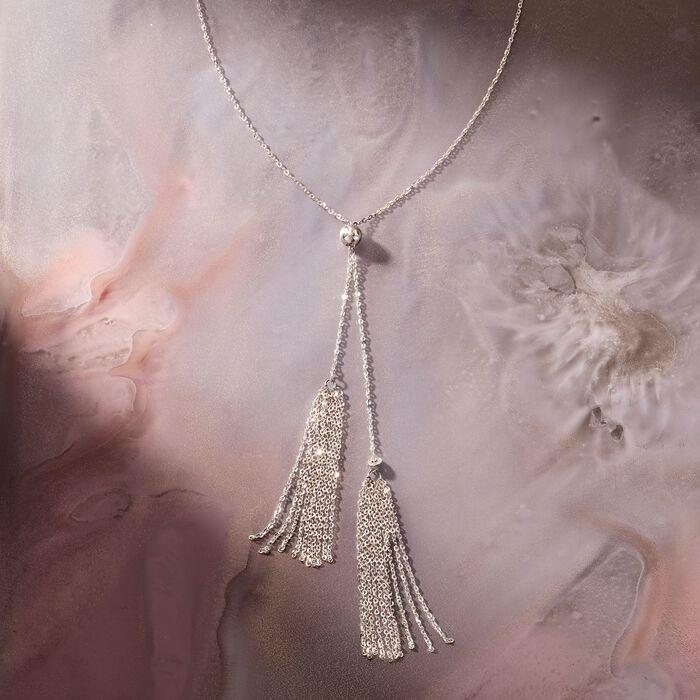 Italian Sterling Silver Lariat Tassel Necklace