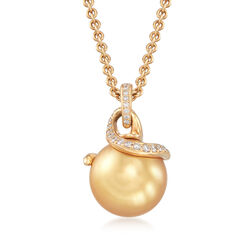 Mikimoto 11mm Golden South Sea Pearl Necklace With .20 ct. t.w. Diamonds in 18kt Yellow Gold, , default