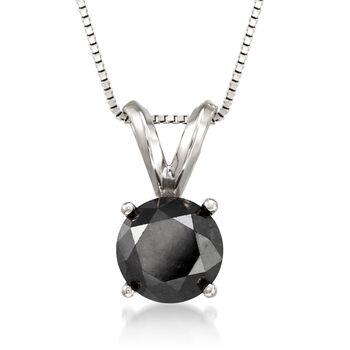 "1.50 Carat Black Diamond Solitaire Necklace in 14kt White Gold. 18"", , default"
