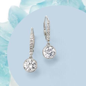 2.40 ct. t.w. Bezel-Set CZ Drop Earrings in Sterling Silver