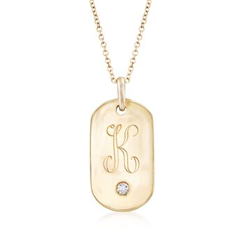 """14kt Yellow Gold Single Initial ID Tag Pendant Necklace With Diamond Accent. 18"""", , default"""