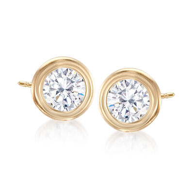 .75 ct. t.w. Double Bezel-Set Diamond Stud Earrings in 14kt Yellow Gold