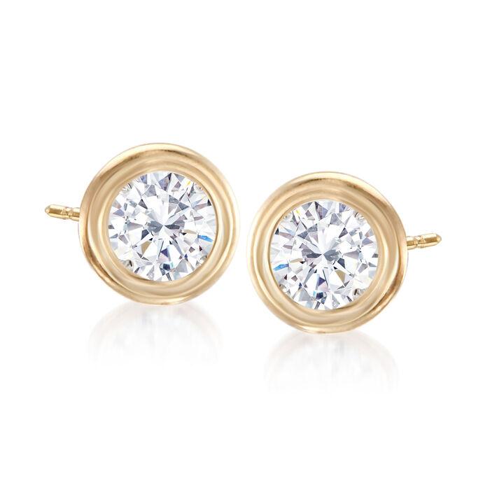 .75 ct. t.w. Double Bezel-Set Diamond Stud Earrings in 14kt Yellow Gold