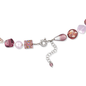 Italian Pink and Purple Murano Glass Bead Necklace with Sterling Silver. 18""
