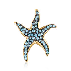 1.50 ct. t.w. Blue Topaz Starfish Pendant in 14kt Gold Over Sterling, , default