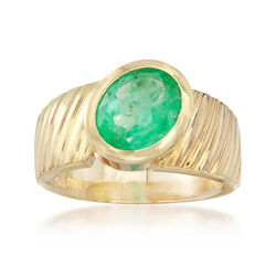 C. 1980 Vintage 3.80 Carat Oval Emerald Ring in 14kt Yellow Gold, , default