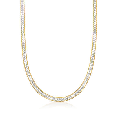 Italian Two-Tone Sterling Silver Herringbone Necklace, , default