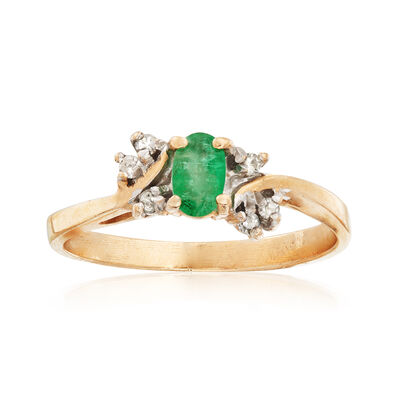C. 1990 Vintage .25 Carat Emerald Ring With Diamond Accents in 14kt Yellow Gold, , default