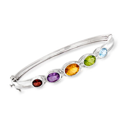 5.90 ct. t.w. Multi-Gemstone Bangle Bracelet in Sterling Silver, , default