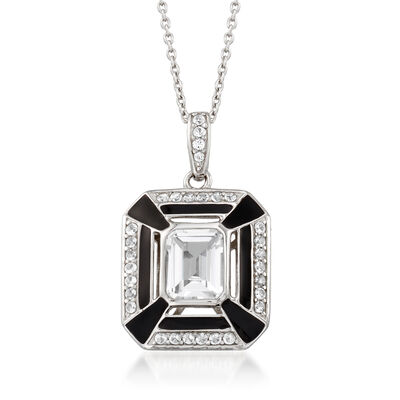 2.80 ct. t.w. White Topaz and Black Enamel Pendant Necklace in Sterling Silver