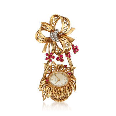 C. 1950 Vintage Bucherer Synthetic Ruby and Diamond-Accented Flower Basket Watch Pin in 18kt Yellow Gold