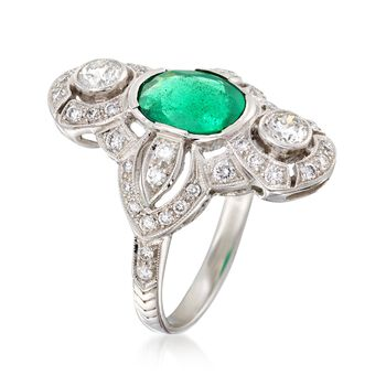 C. 2000 Vintage 1.95 Carat Emerald and 1.00 ct. t.w. Diamond Dinner Ring in 18kt White Gold. Size 7, , default