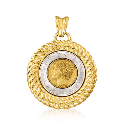 Italian Andiamo 14kt Yellow Gold Genuine 500-Lira Coin Pendant