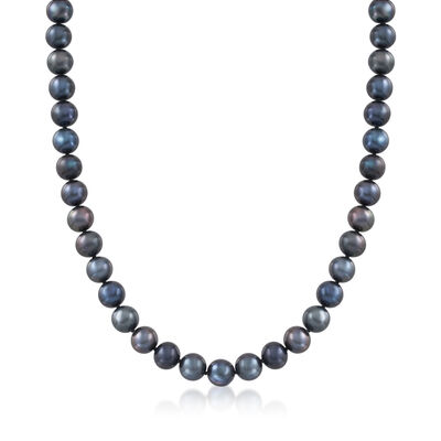 8.5-9.5mm Black Cultured Pearl Necklace with Sterling Silver