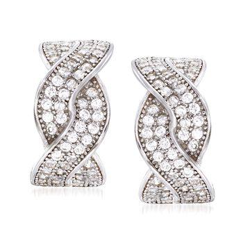 .65 ct. t.w. CZ Braided Half-Hoop Earrings in Sterling Silver , , default