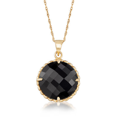 C. 1990 Vintage Black Onyx Pendant Necklace in 14kt Yellow Gold, , default