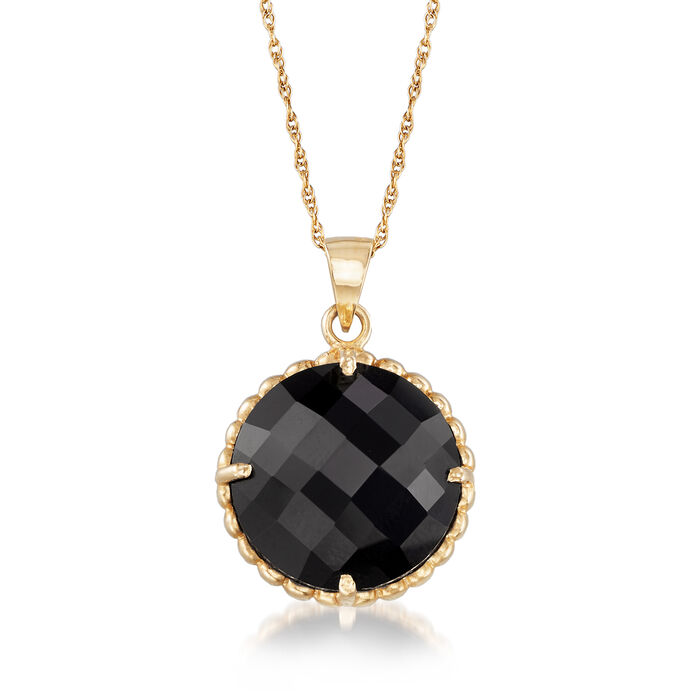 "C. 1990 Vintage Black Onyx Pendant Necklace in 14kt Yellow Gold. 18"", , default"