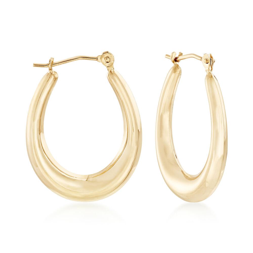 Italian 14kt Yellow Gold Oval Hoop Earrings 7 8 Default