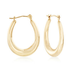 "Italian 14kt Yellow Gold Oval Hoop Earrings. 7/8"", , default"