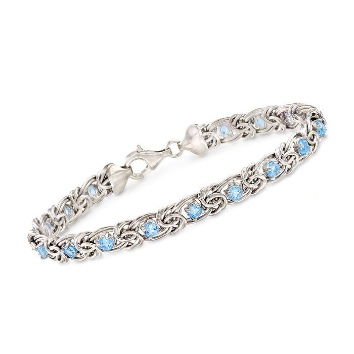 2.30 ct. t.w. Blue Topaz Byzantine Bracelet in Sterling Silver, , default