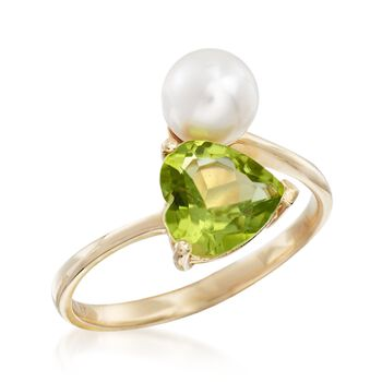6-6.5mm Cultured Pearl and 1.50 Carat Heart-Shaped Peridot Bypass Ring in 14kt Gold, , default