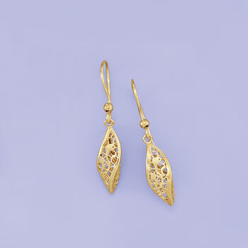 Italian 14kt Yellow Gold Twisted Lace Drop Earrings