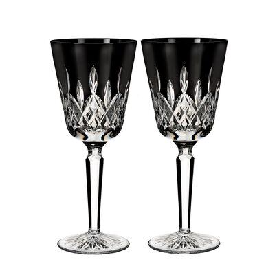"""Waterford Crystal """"Black"""" Set of 2 Lismore Goblet Glasses"""